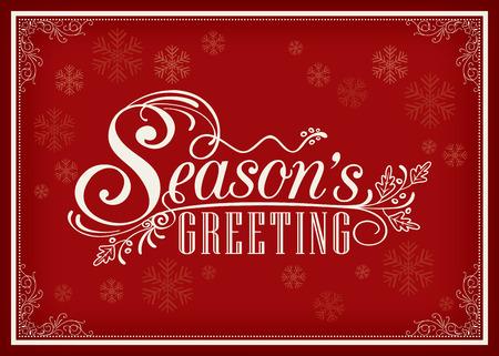 49073130 - season greeting word vintage frame design on red background